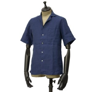 Bagutta【バグッタ】オープンカラーシャツ MAUI_GM CN0045 055 リネン ネイビー|cinqueunaltro