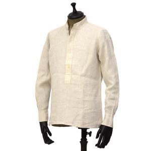 Bagutta【バグッタ】バンドカラープルオーバーシャツ PATMOS_GL 09098 011 リネン グレージュ|cinqueunaltro