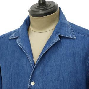 Bagutta【バグッタ】オープンカラーシャツ JOHNNY_GL 08266 050 デニム ウォッシュドインディゴ cinqueunaltro 02