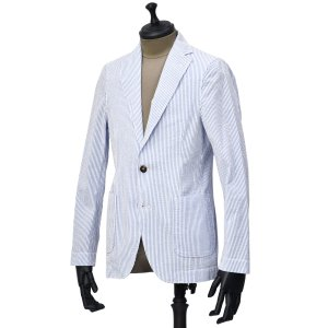 Bagutta【バグッタ】シャツジャケット RICK_GL 10015 250 コットン サッカーストライプ ホワイト ブルー|cinqueunaltro