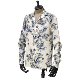 【size40,42】Bagutta【バグッタ】オープンカラーシャツ JOHNNY_GBL 10014 650 レーヨン ボタニカル ホワイト|cinqueunaltro