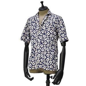 Bagutta【バグッタ】オープンカラーシャツ MAUI_GM 10070 651 コットン フラワー ネイビー ベージュ|cinqueunaltro