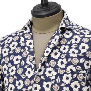 Bagutta【バグッタ】オープンカラーシャツ MAUI_GM 10070 651 コットン フラワー ネイビー ベージュ|cinqueunaltro|02
