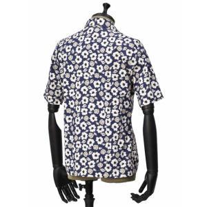 Bagutta【バグッタ】オープンカラーシャツ MAUI_GM 10070 651 コットン フラワー ネイビー ベージュ|cinqueunaltro|03
