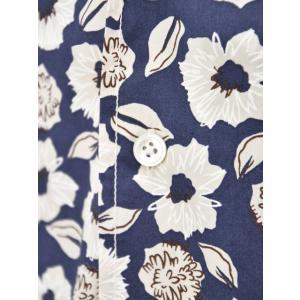 Bagutta【バグッタ】オープンカラーシャツ MAUI_GM 10070 651 コットン フラワー ネイビー ベージュ|cinqueunaltro|04