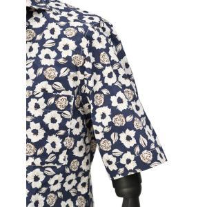 Bagutta【バグッタ】オープンカラーシャツ MAUI_GM 10070 651 コットン フラワー ネイビー ベージュ|cinqueunaltro|05