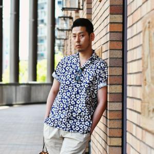 Bagutta【バグッタ】オープンカラーシャツ MAUI_GM 10070 651 コットン フラワー ネイビー ベージュ|cinqueunaltro|07