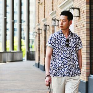 Bagutta【バグッタ】オープンカラーシャツ MAUI_GM 10070 651 コットン フラワー ネイビー ベージュ|cinqueunaltro|09