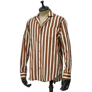 Bagutta【バグッタ】オープンカラーシャツ GELA GL 10561 270 レーヨン ナイロン ストライプ オレンジ ベージュ|cinqueunaltro