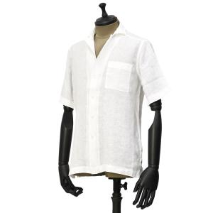 Bagutta【バグッタ】オープンカラーシャツ MAUI GAMT 11028 001 リネン ホワイト|cinqueunaltro