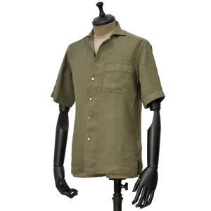 Bagutta【バグッタ】オープンカラーシャツ MAUI GAMT 11028 062 リネン グリーン|cinqueunaltro