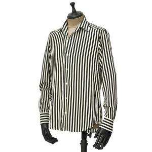 Bagutta【バグッタ】オープンカラーシャツ JOHNNY GBL 1167 290 レーヨン ストライプ ブラック ホワイト|cinqueunaltro