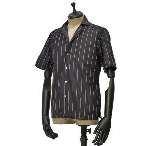 Bagutta【バグッタ】オープンカラーシャツ MAUI GMW 11190 290 コットン ストライプ ブラック ホワイト|cinqueunaltro