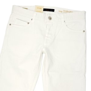 Care Label【ケアレーベル】デニムパンツ Bodies 214 Stoner 302 Color line 552 001 off white コットン ストレッチ ホワイト|cinqueunaltro