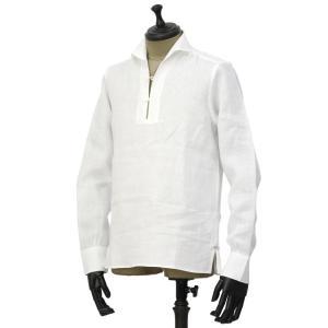 Massimo d'Augusto【マッシモダウグスト】カプリシャツ 1890 ALAMARI 1 リネン ホワイト|cinqueunaltro