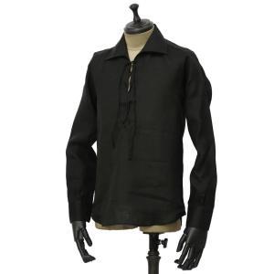 Massimo d'Augusto【マッシモダウグスト】レースアップカプリシャツ 1890 POLO STRING 18 リネン ブラック|cinqueunaltro