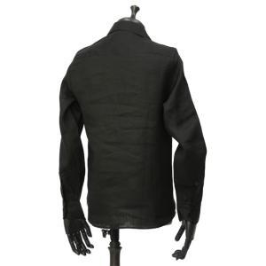 Massimo d'Augusto【マッシモダウグスト】レースアップカプリシャツ 1890 POLO STRING 18 リネン ブラック|cinqueunaltro|02