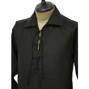 Massimo d'Augusto【マッシモダウグスト】レースアップカプリシャツ 1890 POLO STRING 18 リネン ブラック|cinqueunaltro|03