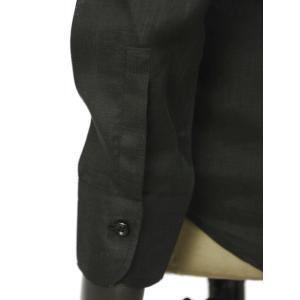 Massimo d'Augusto【マッシモダウグスト】レースアップカプリシャツ 1890 POLO STRING 18 リネン ブラック|cinqueunaltro|04