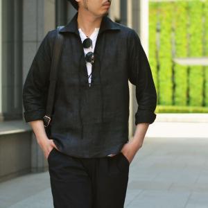 Massimo d'Augusto【マッシモダウグスト】レースアップカプリシャツ 1890 POLO STRING 18 リネン ブラック|cinqueunaltro|06