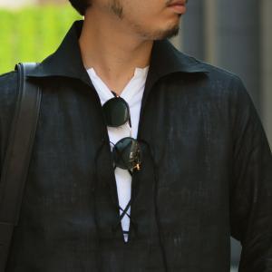 Massimo d'Augusto【マッシモダウグスト】レースアップカプリシャツ 1890 POLO STRING 18 リネン ブラック|cinqueunaltro|07