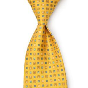 DOLCEPUNTA【ドルチェプンタ】シルクタイ TIE-P2023 2 セッテピエゲ シルク 小紋 マスタード ブルー|cinqueunaltro
