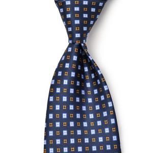 DOLCEPUNTA【ドルチェプンタ】シルクタイ TIE-P2023 6 セッテピエゲ シルク 小紋 ネイビー ブルー|cinqueunaltro