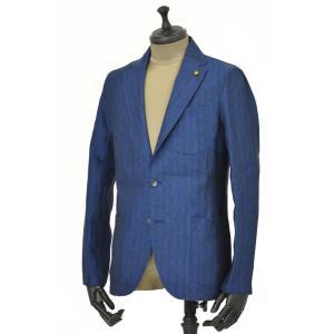 Giannetto【ジャンネット】シャツジャケット 8G845 03 リネン ヘリンボーン ブルー|cinqueunaltro