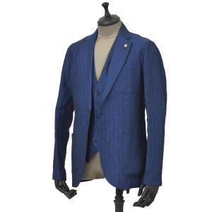 Giannetto【ジャンネット】シャツジャケット 8G845 03 リネン ヘリンボーン ブルー|cinqueunaltro|02