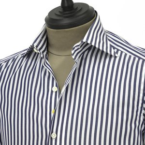 Giannetto【ジャンネット】ドレスシャツ SLIM FIT 8B27830L66 003 blue label コットン ロンドンストライプ ホワイト ネイビー cinqueunaltro