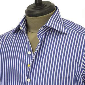 Giannetto【ジャンネット】ドレスシャツ SLIM FIT 8B28030L66 004 blue label コットン ロンドンストライプ ブルー ホワイト cinqueunaltro