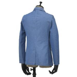 Giannetto【ジャンネット】シャツジャケット 8G350JK C01 コットン シャンブレー インディゴ|cinqueunaltro|02