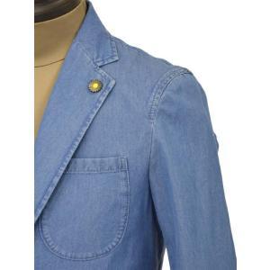 Giannetto【ジャンネット】シャツジャケット 8G350JK C01 コットン シャンブレー インディゴ|cinqueunaltro|04