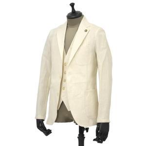 Giannetto【ジャンネット】シャツジャケット 8G844 05 リネン ヘリンボーン オフベージュ|cinqueunaltro|02