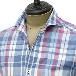 Giannetto【ジャンネット】カジュアルシャツ VINCI FIT AG34630V84 C01 チェック ブルー レッド|cinqueunaltro