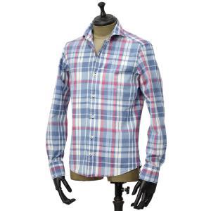 Giannetto【ジャンネット】カジュアルシャツ VINCI FIT AG34630V84 C01 チェック ブルー レッド|cinqueunaltro|02