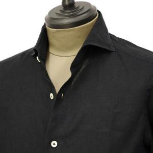 Giannetto【ジャンネット】カジュアルシャツ VINCI FIT AG83330V84 010 リネン ブラック|cinqueunaltro