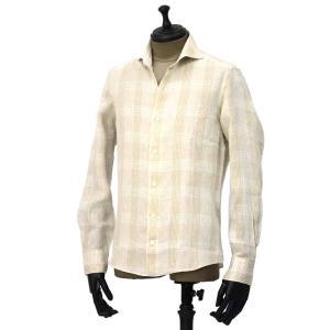 Giannetto【ジャンネット】カジュアルシャツ VINCI FIT AG88430V84 002 リネン チェック ベージュ|cinqueunaltro|02