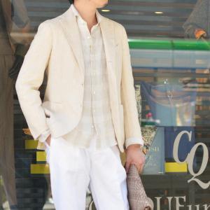 Giannetto【ジャンネット】カジュアルシャツ VINCI FIT AG88430V84 002 リネン チェック ベージュ|cinqueunaltro|08