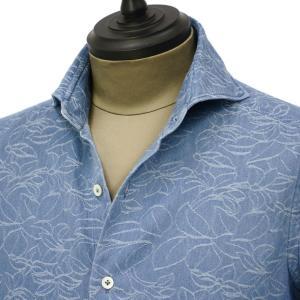 Giannetto【ジャンネット】カジュアルシャツ VINCI FIT AG39330V84 C02 ジャガード フラワー ウォッシュドブルー cinqueunaltro