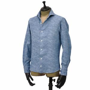 Giannetto【ジャンネット】カジュアルシャツ VINCI FIT AG39330V84 C02 ジャガード フラワー ウォッシュドブルー cinqueunaltro 02