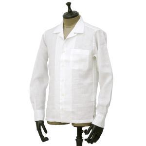 Giannetto【ジャンネット】開襟シャツ AG850BOWML 001 リネン ホワイト|cinqueunaltro|02