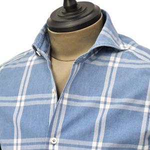 Giannetto【ジャンネット】カジュアルシャツ VINCI FIT 0103-384300V84 B002 コットン チェック ブルー ホワイト|cinqueunaltro