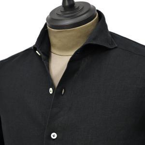 Giannetto【ジャンネット】カジュアルシャツ VINCI FIT 0103-845300V84 007 リネン ブラック|cinqueunaltro