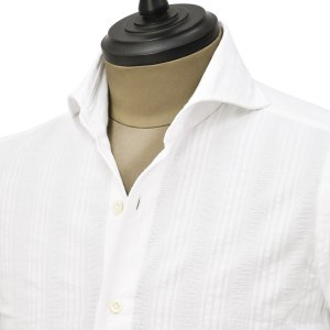 Giannetto【ジャンネット】カジュアルシャツ VINCI FIT 0103-204300V84 001 コットン ホワイト ジャガード ストライプ|cinqueunaltro