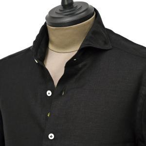 Giannetto【ジャンネット】カジュアルシャツ VINCI FIT 1103-841300V84 008 リネン ブラック|cinqueunaltro