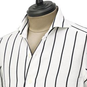 Giannetto【ジャンネット】カジュアルシャツ VINCI FIT 1103-836300V84 001 リネン コットン ストライプ ホワイト|cinqueunaltro