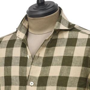 Giannetto【ジャンネット】カジュアルシャツ VINCI FIT 1103-886300V84 001 リネン ブロックチェック ベージュ ブラウン|cinqueunaltro