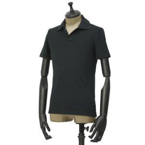 GIRELLI BRUNI【ジレッリ ブルーニ】スキッパーポロシャツ V040PC BLACK コットン ブラック|cinqueunaltro