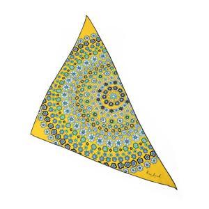 Kinloch【キンロック】プリントトライアングルスカーフ Murrine circle 0490TR70TW61 シルク イエロー ネイビー|cinqueunaltro|02